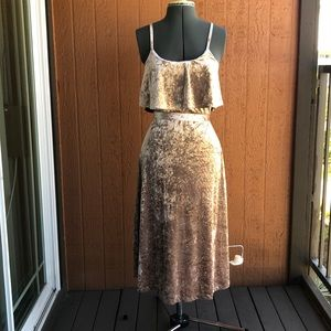 Pink Crushed Velvet Midi Dress with Removable Belt